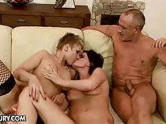 Horny fist-fucker gets his way with two lesbians