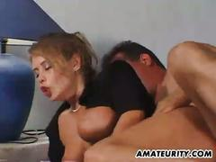 Busty amateur blonde gets her trimmed pussy fucked