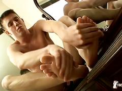 Sexy feet boy gauge teasing on camera