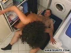 Hot amateur girlfriend fucked in her bathroom