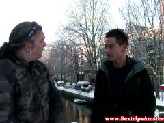 Dutch slut sucking a tourists hard cock