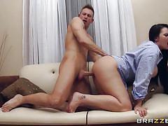 milf, anal, big tits, riding, brunette, from behind, dick sucking, sucking balls, big bum, big butts like it big, brazzers network, mackenzee pierce, bill bailey