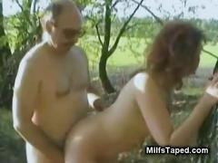 Horny milf drilled in the woods