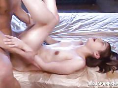 Skinny asian gets fingered and fucked