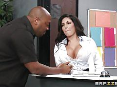 Busty receptionist gets fucked behind the counter