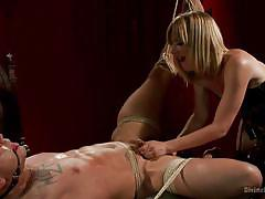 milf, blonde, femdom, bdsm, strapon, tied up, anal insertion, ropes, ball gag, divine bitches, kink, brock avery, mona wales
