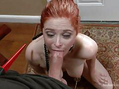 milf, bdsm, redhead, blowjob, big boobs, anal insertion, collar, metal hook, weights, on leash, sex and submission, kink, bill bailey, penny pax