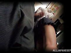 Schoolgirl get cum stained in a public transport