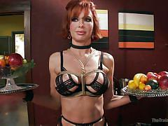milf, bdsm, whipping, busty, collar, brown hair, rope bondage, balance, the training of o, kink, mickey mod, veronica avluv