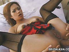 milf, interracial, asian, stockings, uncensored, brunette, riding cock, anal sex, bbc, brutal asia, aliyah likit