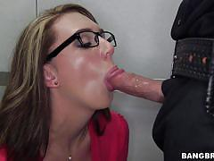 Nerdy brooke sucks officer's dong