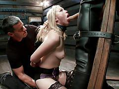 Blonde with pierced nipples gets roughly punished