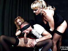 milf, threesome, jerking, blowjob, ladyboy, blindfolded, big dick, pink'o shemales, adriana t