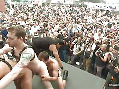 bdsm, public, gays, on stage, lash, crowd, bound in public, kink men, jessie colter, cameron kincade, connor maguire