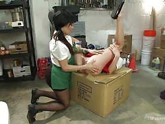 Tranny barista pounds the shop girl's cunt