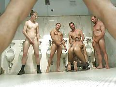 Gay gangbang in a public bathroom