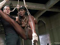 bdsm, hanging, interracial, brunette, moaning, tied up, ropes, black babe, shibari, the training of o, kink, owen gray, ana foxxx