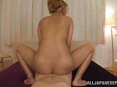 blonde, creampie, japanese, asian, round ass, hairy pussy, riding cock, pov, cum filled, o creampies, all japanese pass, hikari
