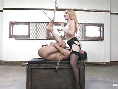 Blonde mistress and her asian sex slave