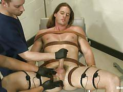 handjob, bondage, bdsm, cumshot, moaning, tied up, anal insertion, gay, leather belts, electrodes, stick with dildo, cbt, men on edge, kink men, kip johnson