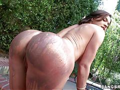 milf, big ass, round ass, solo, busty, brunette, outdoors, body painting, pawg, bangbros network, krissy lynn