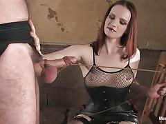 Stiff cock gets pulled... with rope!