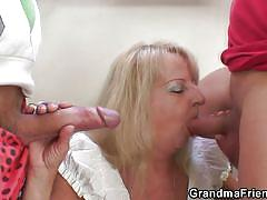 blonde, threesome, granny, blowjob, old and young, grandma friends, debi x