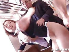 Superb japanese babe roughly fucked in a train