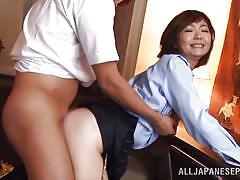 milf, japanese, office, brunette, hairy pussy, from behind, censored, anal sex, anal nippon, all japanese pass, sayuri kinsei