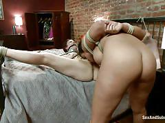 milf, threesome, bdsm, redhead, pussy licking, tied up, from behind, black hair, ropes, ass spanking, sex and submission, kink, danny wylde, penny barber, bella rossi