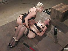 milf, tattoo, blonde, bondage, lesbians, stockings, fingering, tied up, brown hair, ropes, electrodes, electric wand, electro bdsm, wired pussy, kink, tina horn, lorelei lee