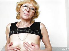 Czech granny spreads her legs for you