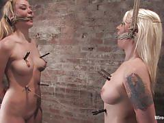 threesome, mistress, vibrator, babes, tied up, blondes, electrodes, electro bdsm, wired pussy, kink, lorelei lee, annette schwarz
