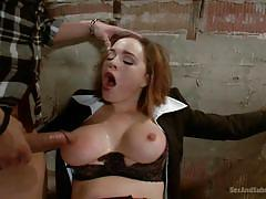 She screams until he fills her mouth with cock