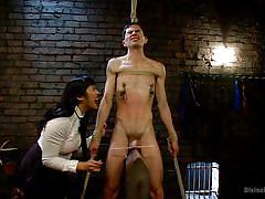Asian domme whips fragile boy