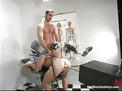 Gay gets his ass mechanically drilled