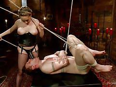 milf, blonde, femdom, bdsm, strapon, mistress, stockings, ass fingering, tied up, chastity belt, ropes, cbt, divine bitches, kink, aiden starr, bastian daniels