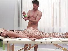 milf, blonde, massage, oiled, sexy clothes, bubble butt, fishnet costume, dirty masseur, brazzers network, gigi allens, mick blue