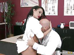Naughty nurse taunts and fucks her doc
