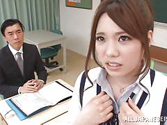Lazy ass schoolgirl sucks her teacher