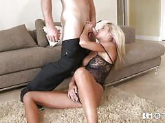 Shoveling cock in a blonde's throat