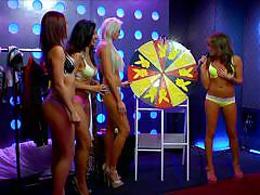 blonde, tv show, bikini, playboy, babes, brunette, school uniform, spinning wheel, morning show, playboy tv