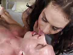 Exchanging cum with a tranny slut