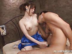 Kinky nippon lady fucks like a whore in bed