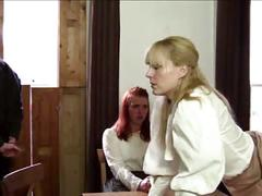 Two girls and a guy caned