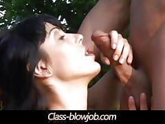 Wild brunette tina gabriel sucks a hard cock