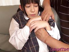 Japanese teen slut gets vibrated and banged hard