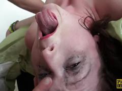 Dominatrix whipped, throated, fucked doggy in her own dungeon