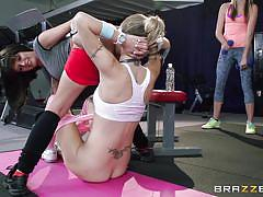 Fit girls combine training with fucking