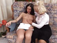 Exciting young brunette pussy action for this old granny